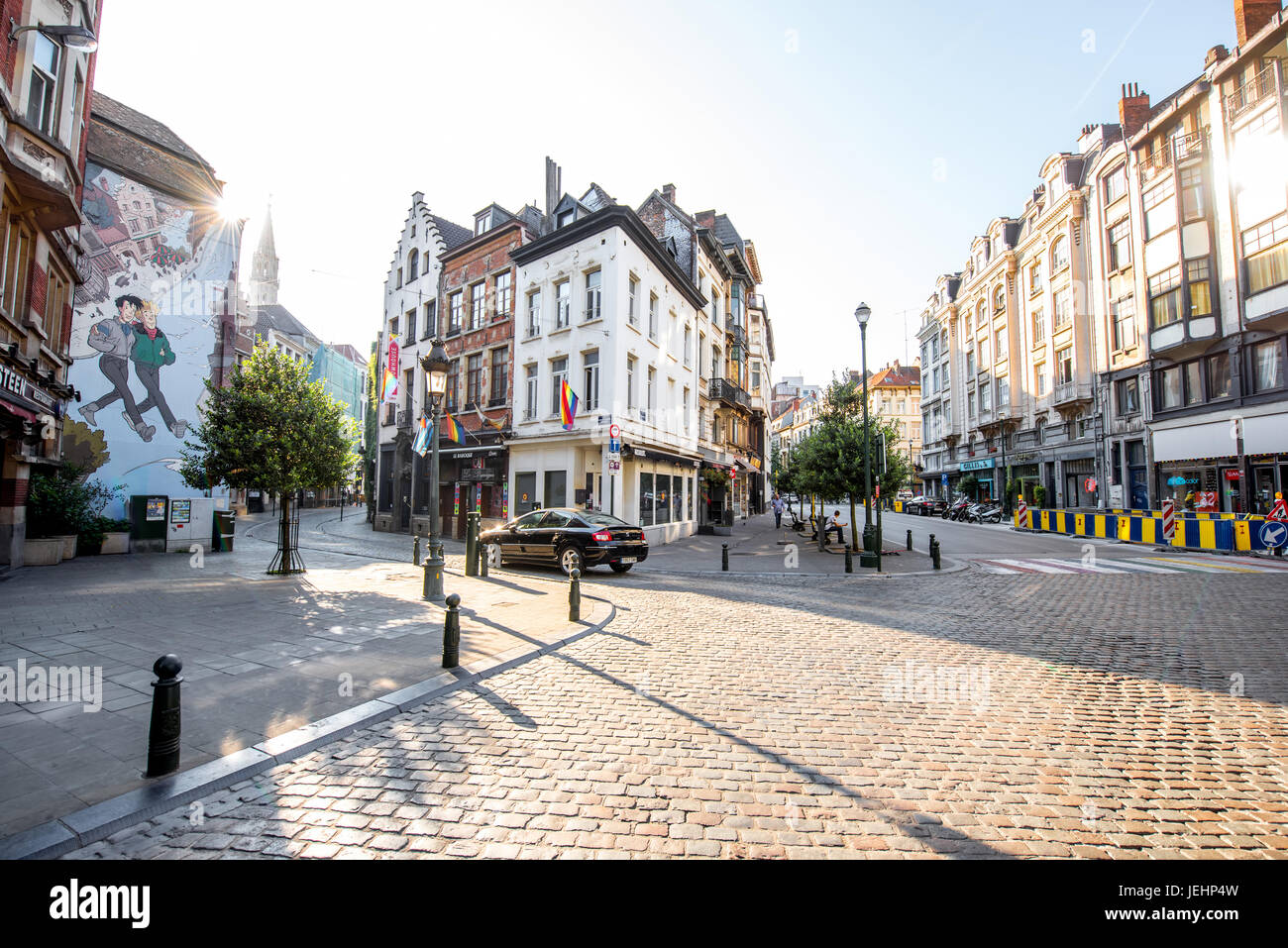 Street view in Brussels - Stock Image