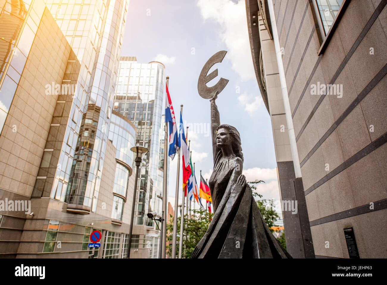 European parliament building in Brussels - Stock Image
