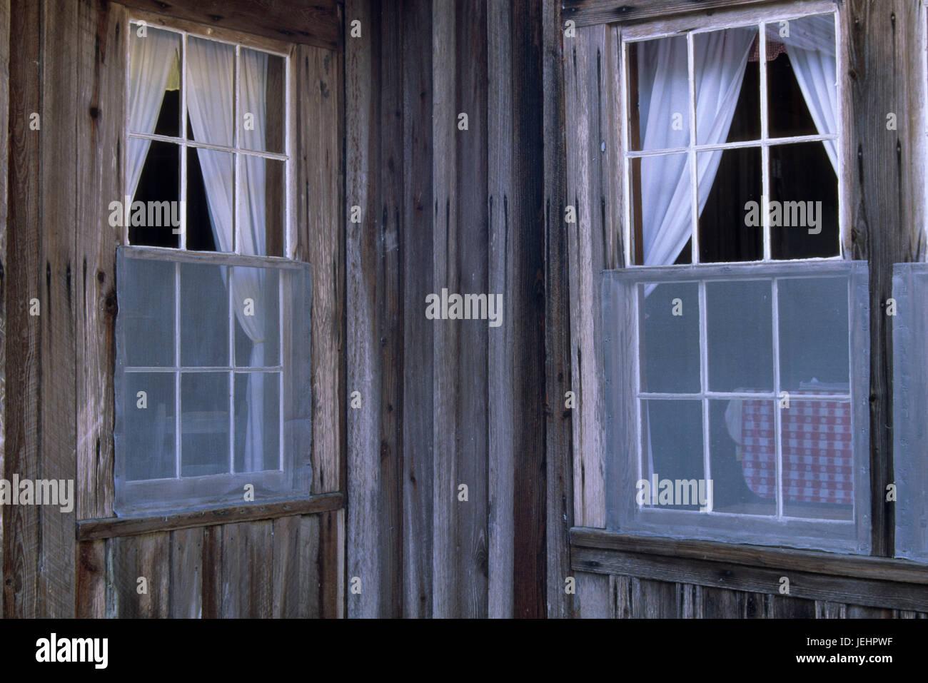 Windows at Chesser Island Homestead, Okefenokee National Wildlife Refuge, Georgia - Stock Image