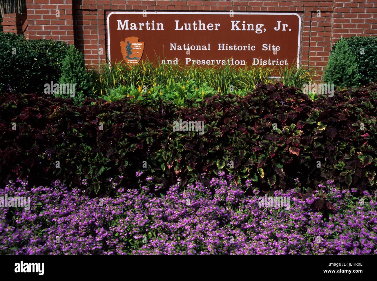 Entrance sign, Martin Luther King Jr. National Historic Site, Atlanta, Georgia - Stock Image