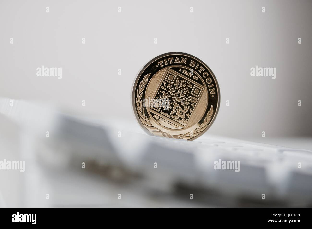 Digital currency physical gold titan bitcoin with QR Code
