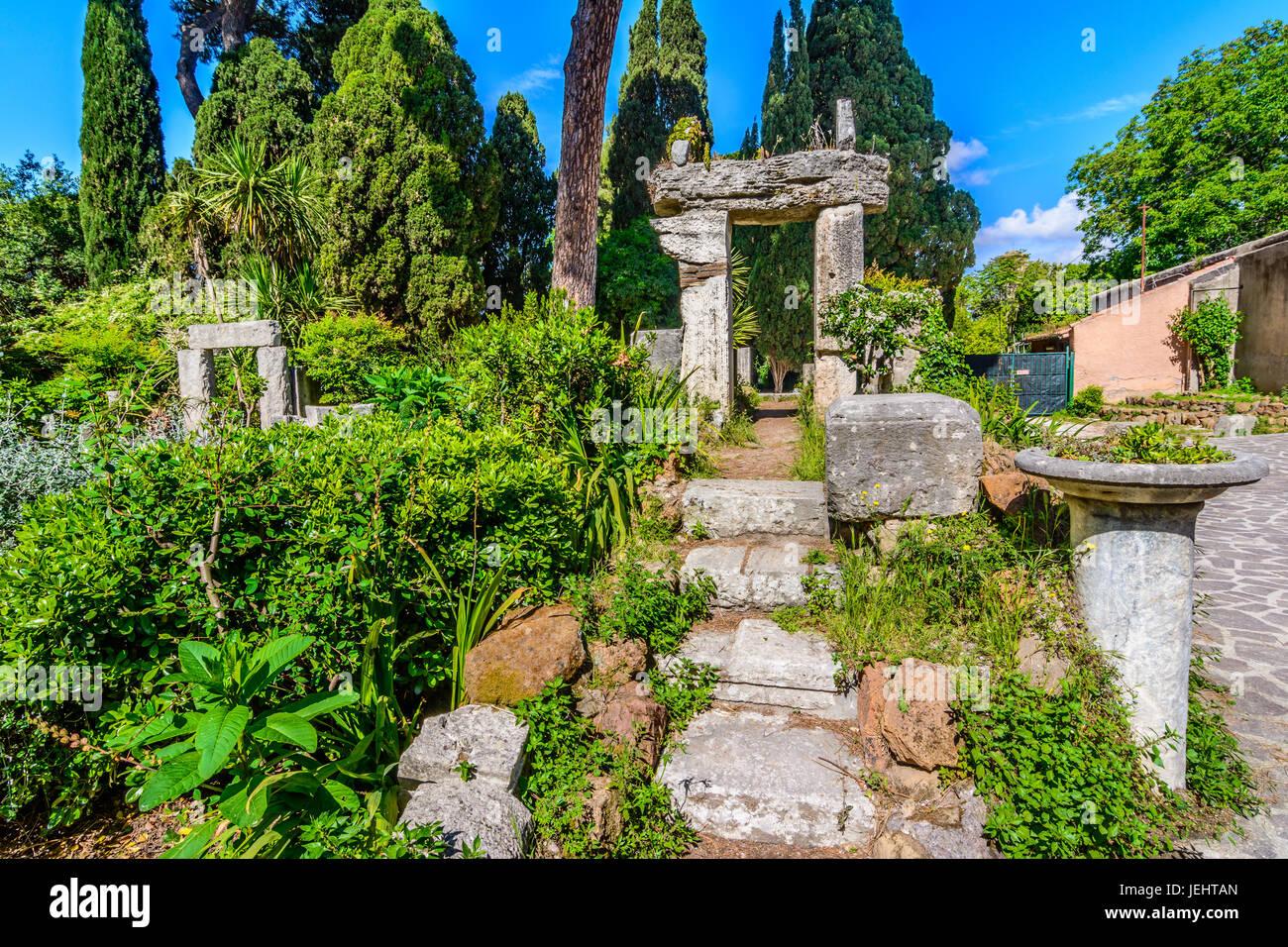 Ancient roman ruin at Villa Celimontana, Rome, Italy - Stock Image
