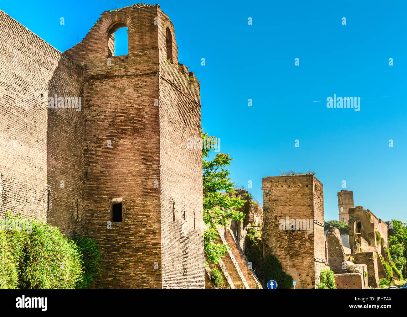 The Aurelian Walls are a line of city walls built between 271 AD and 275 AD in Rome, Italy, during the reign of - Stock Image