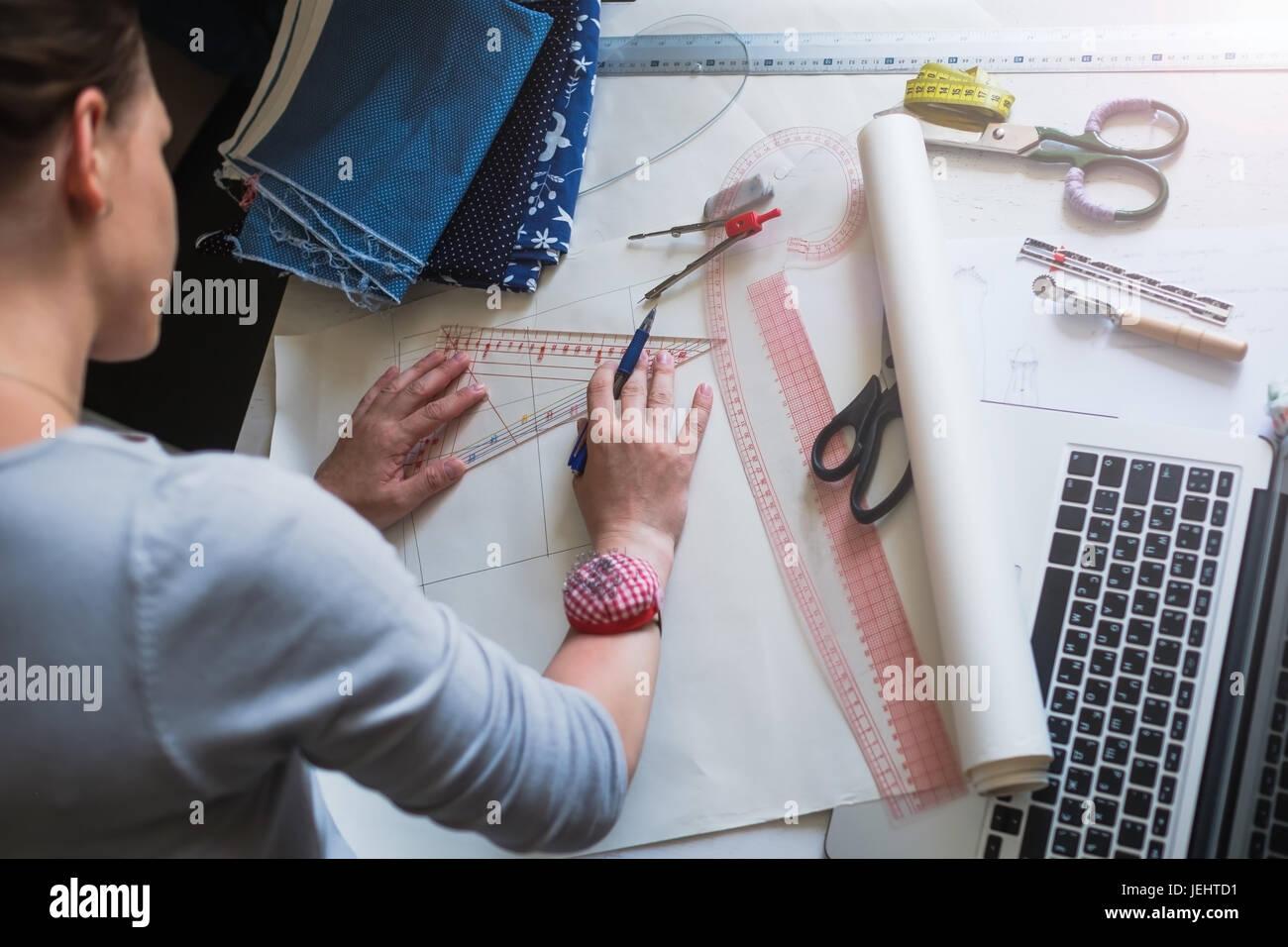 Fashion Designer Draw Scheme For Clothes Stock Photo Alamy
