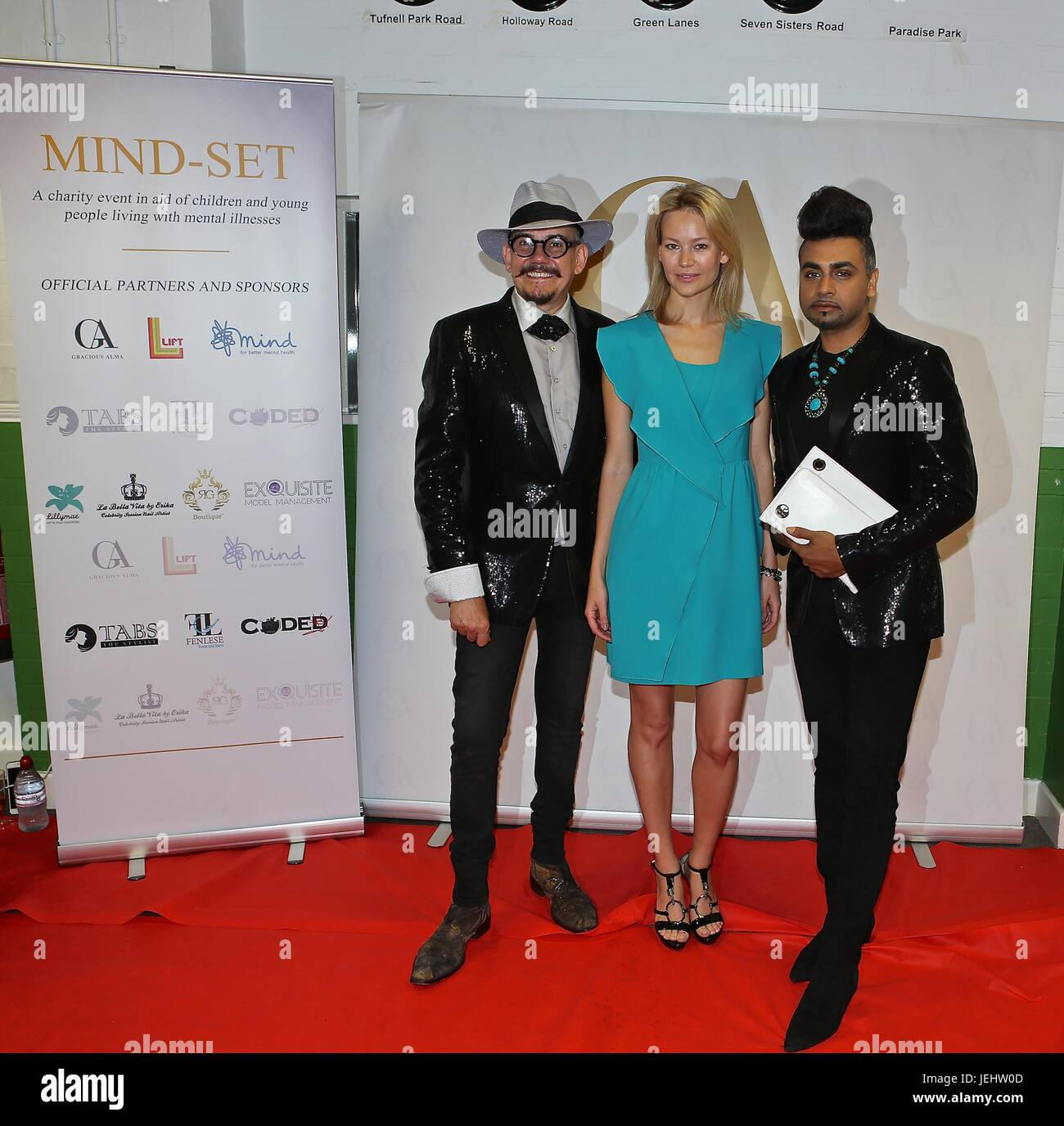 Mind Set Charity show at Lift youth club Angel London , backstage and red carpet Spencer Fearon and Chloe Jasmin - Stock Image