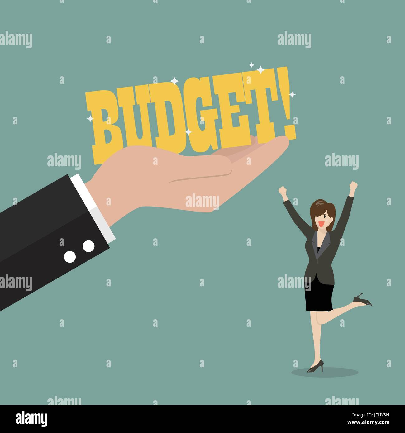 Big hand give a budget to business woman. Business concept - Stock Image