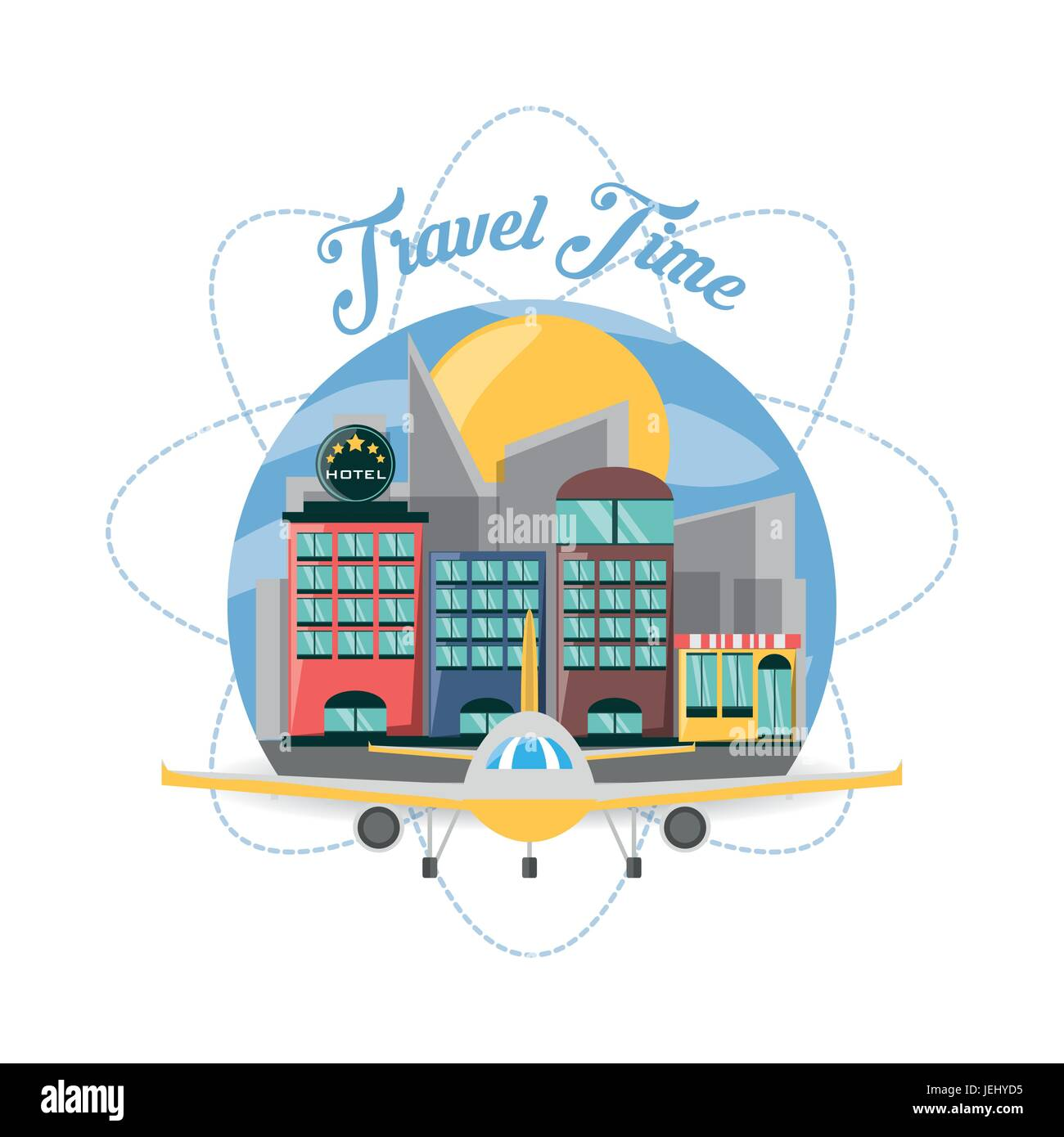 airplane and hotel in the city of the travel - Stock Image