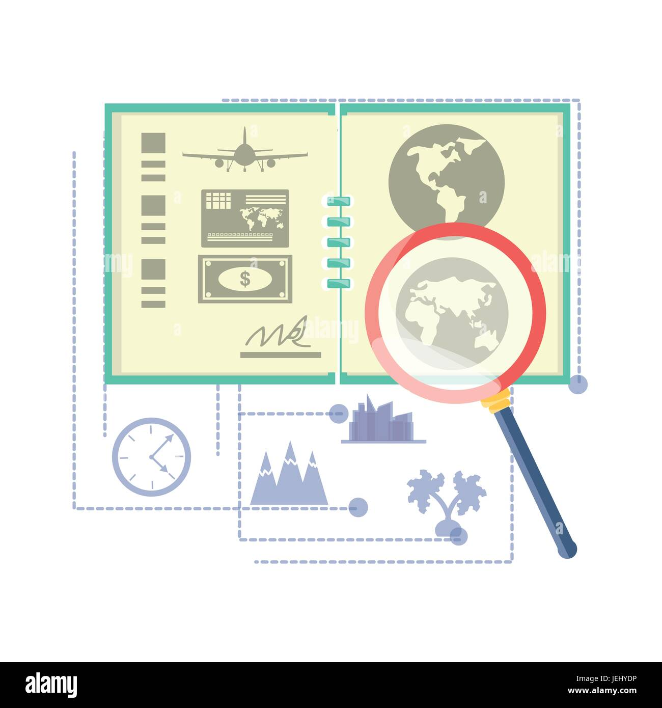 global map with travel tours ubication - Stock Vector