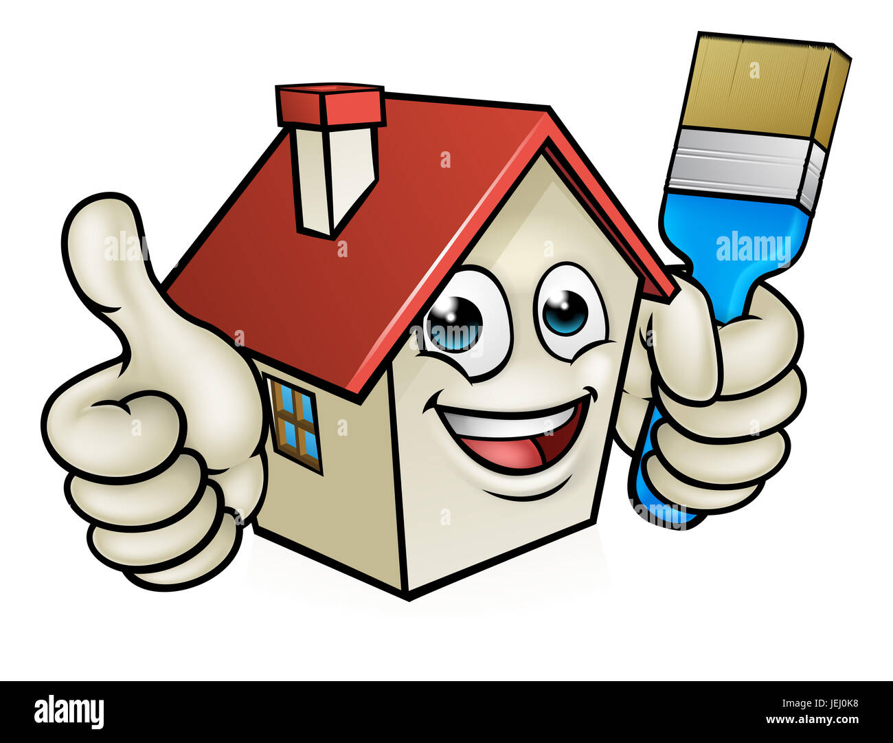 A Happy Cartoon House Man Mascot Character Holding Paint Brush And Stock Photo Alamy