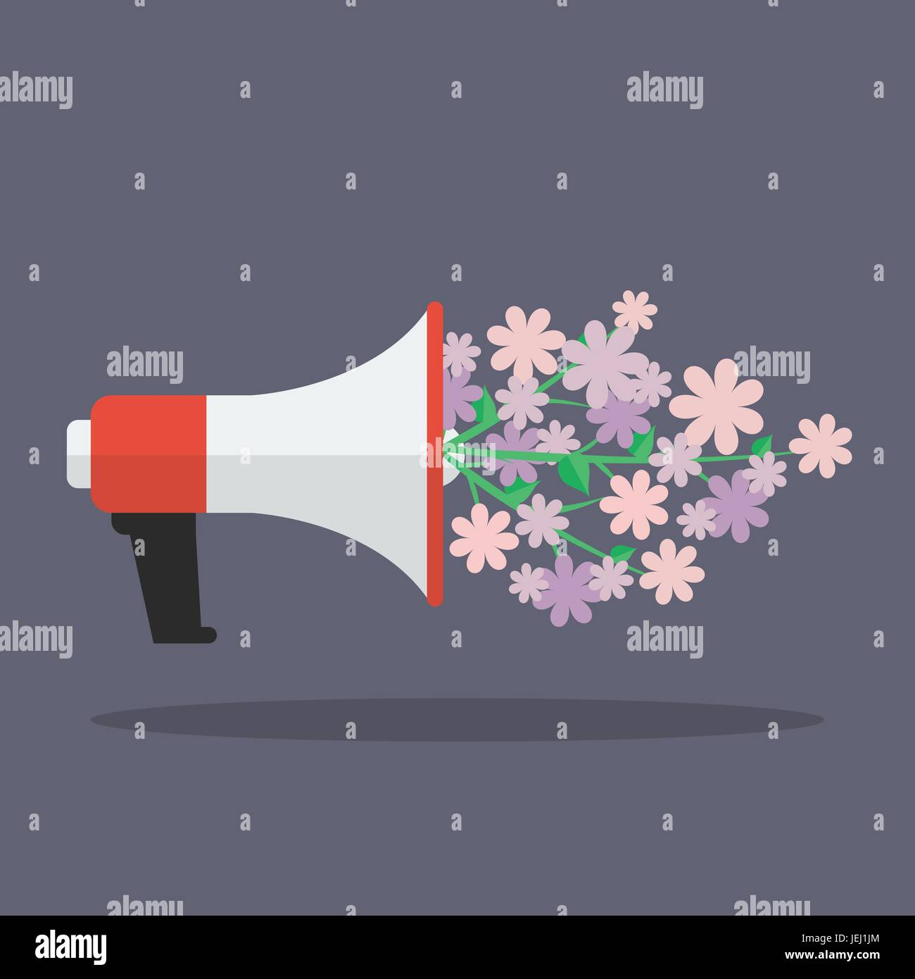 Megaphone with flower flat icon. Vector illustration - Stock Vector