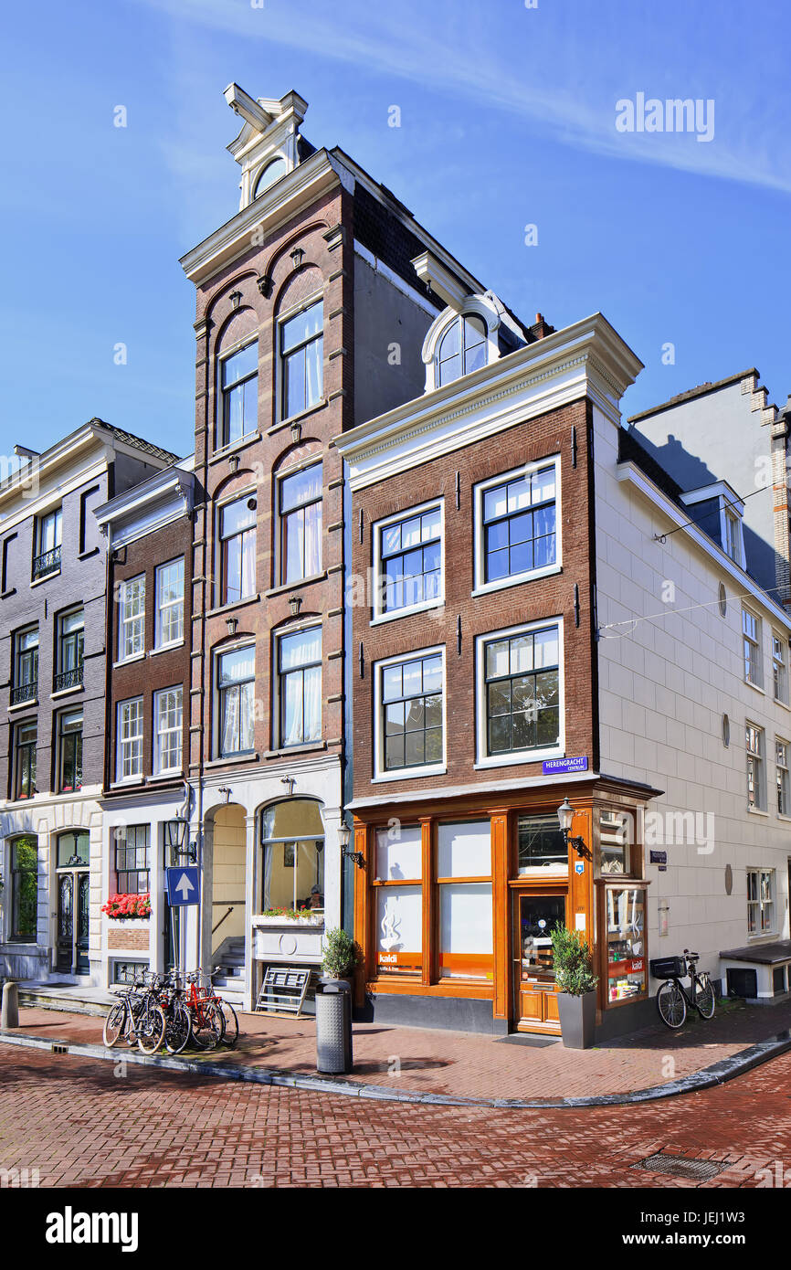 AMSTERDAM-AUG. 24, 2014. Ancient mansions at Herengracht. 17th-century canal ring area, including Prinsengracht, - Stock Image