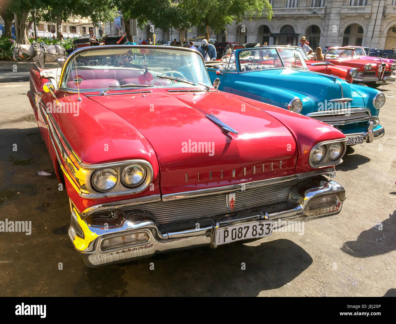 HAVANA, CUBA - APRIL 18: Vintage american classic cars parked in the ...