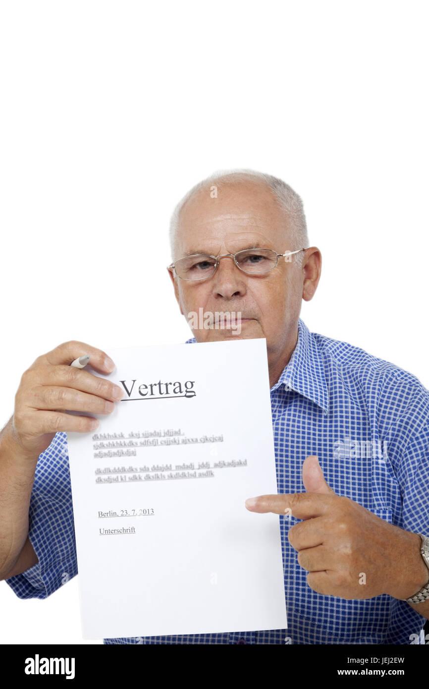 Senior With Contract Stock Photo