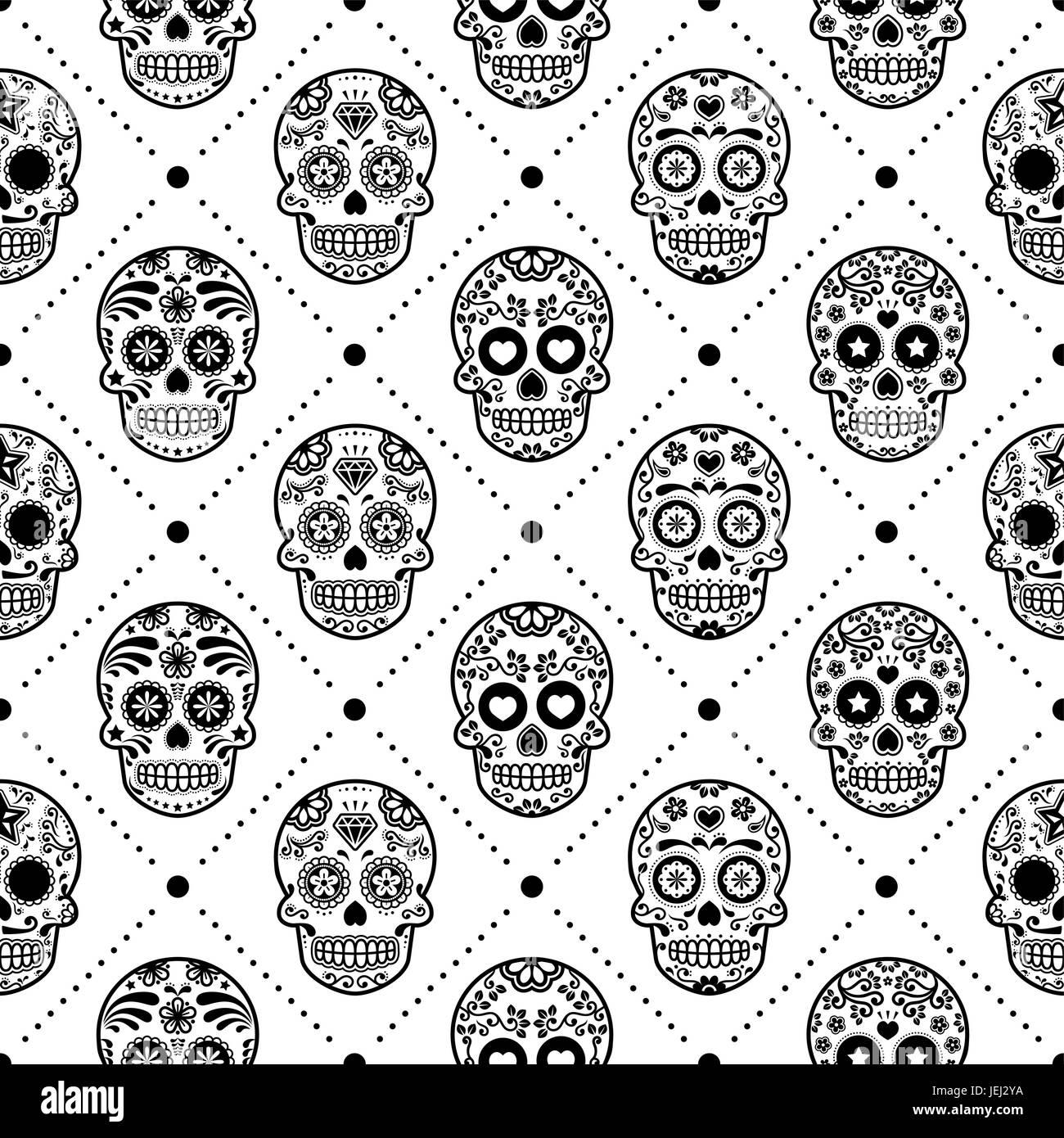 debf75d99e0 Halloween seamless pattern, Mexican sugar skull vector design, Dia ...