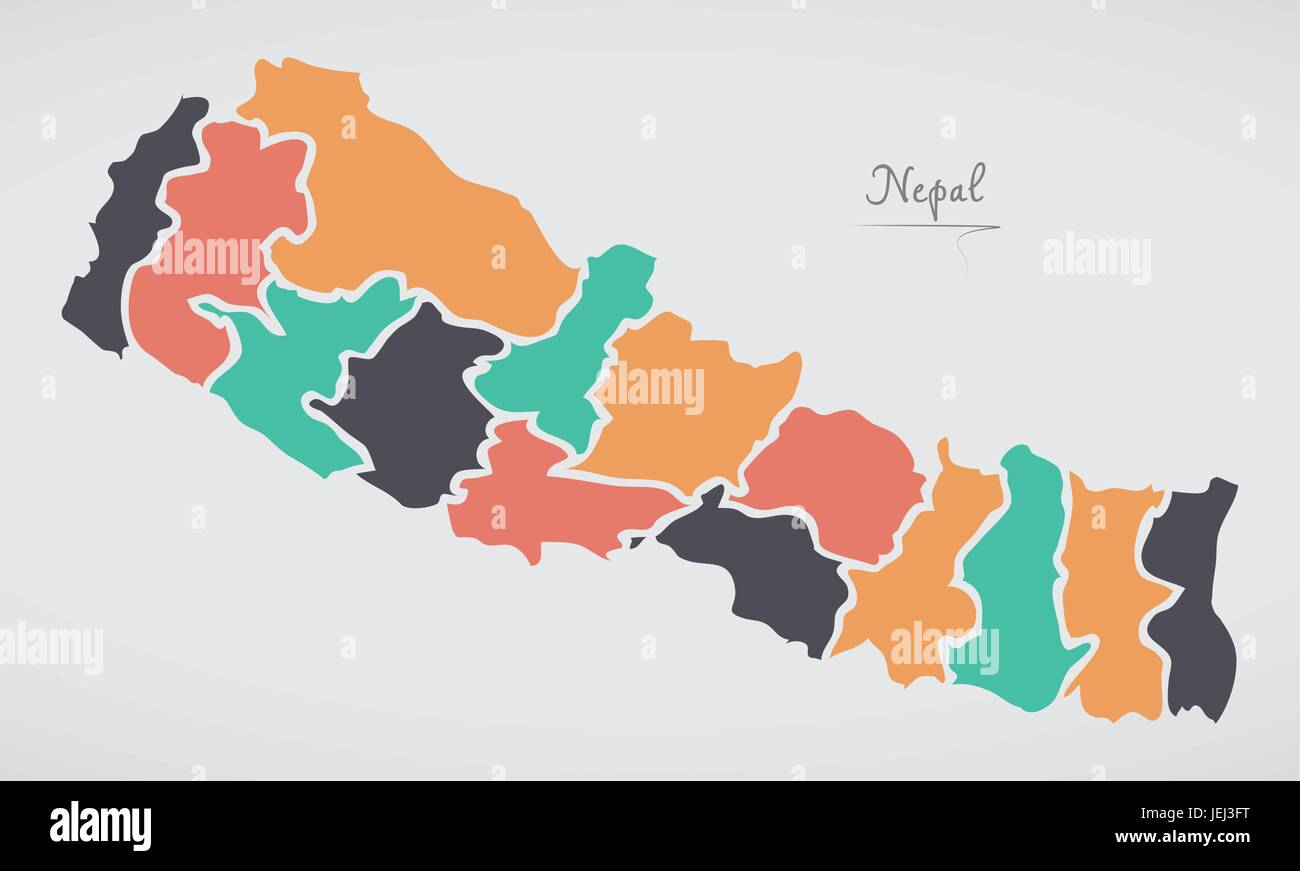 Nepal Map with states and modern round shapes Stock Vector ...