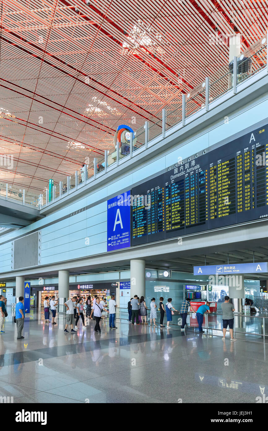 BEIJING-JULY 15, 2016. Arrival area at with flight schedule board, Beijing Capital International Airport, Terminal - Stock Image