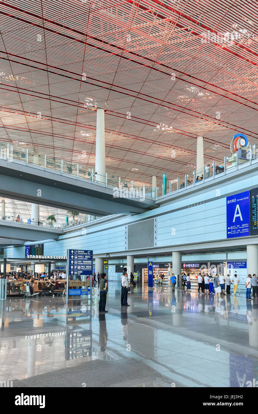 BEIJING-JULY 15, 2016. Spacious arrival area with shiny floor, Beijing Capital International Airport, Terminal 3. - Stock Image