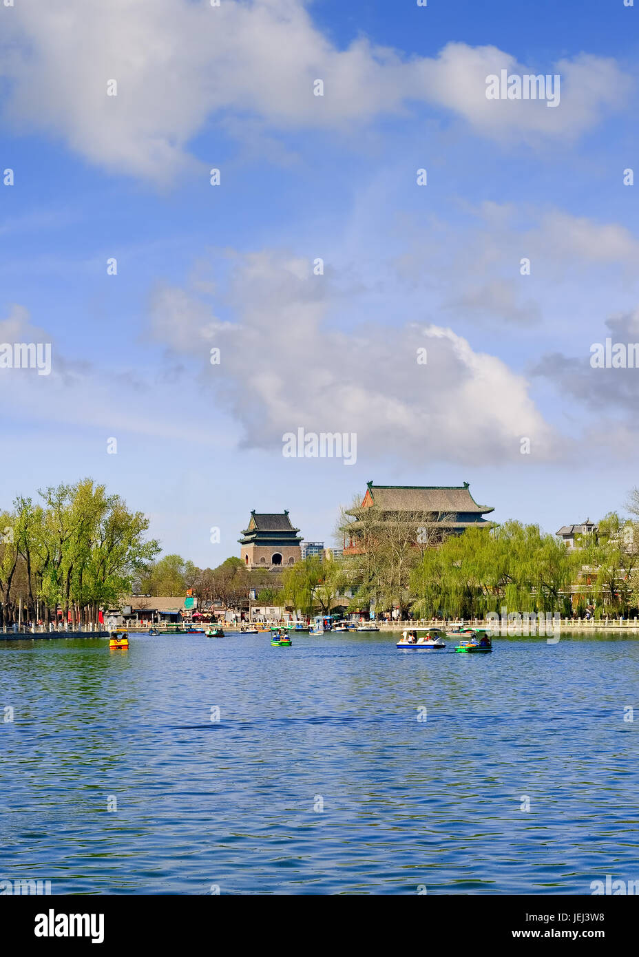 BEIJING-APRIL 14, 2007. Paddle boats on Houhai Lake. It is very popular among foreign tourists visiting Beijing Stock Photo