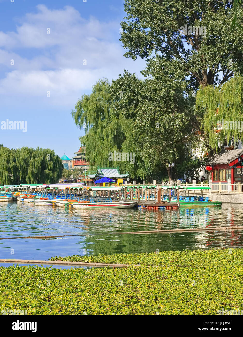 Houhai Lake in the old city center on a sunny day, Beijing, China - Stock Image