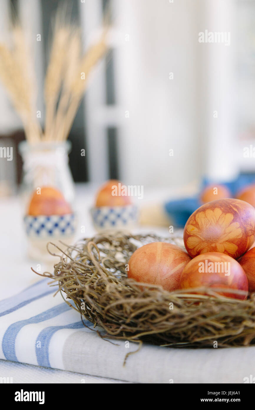 Traditional Latvian naturally dyed eggs for Easter - Stock Image