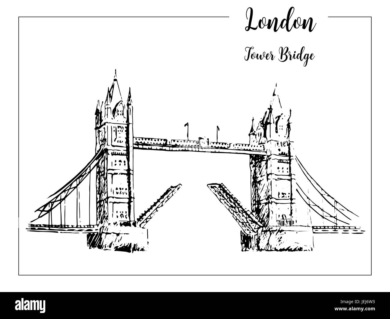 Tower Bridge. London symbol. Beautiful hand drawn vector sketch illustration. - Stock Vector
