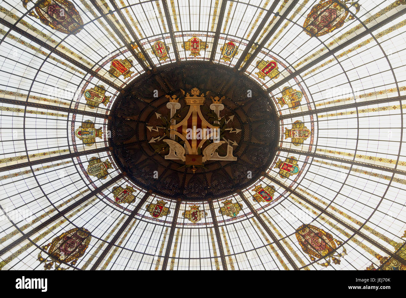 The Ornate Glass Dome Roof in the Correos building in Valencia - Stock Image