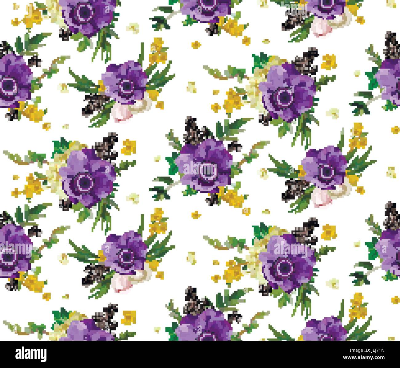 Vector Wallpaper With Lilac Yellow Blooming Anemones Bouquets Roses Hip Eucalyptus Isolated White Background Floral Summer