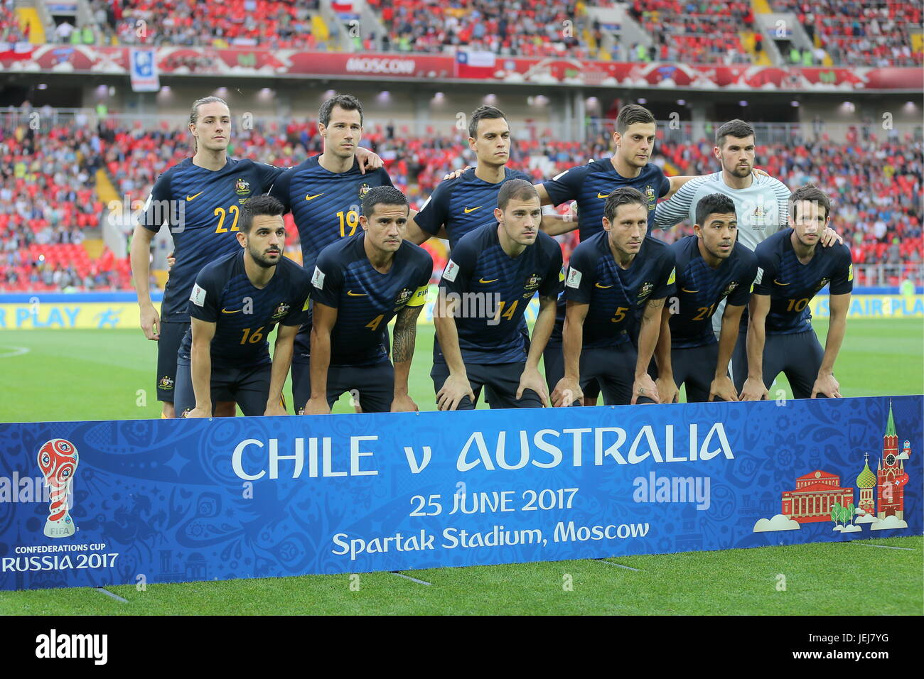Moscow, Russia. 25th June, 2017. The Australia team pose for a photograph before their 2017 FIFA Confederations Stock Photo
