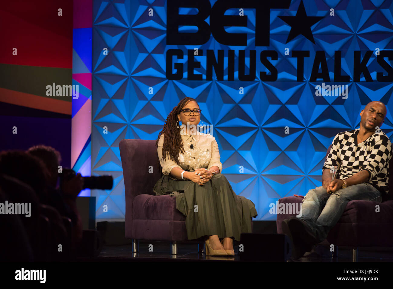 Los Angeles,USA. 24th June,2017. Ava DuVernay (L) Charlamagne tha God day one Genius Talks,sponsored by AT&T,during - Stock Image