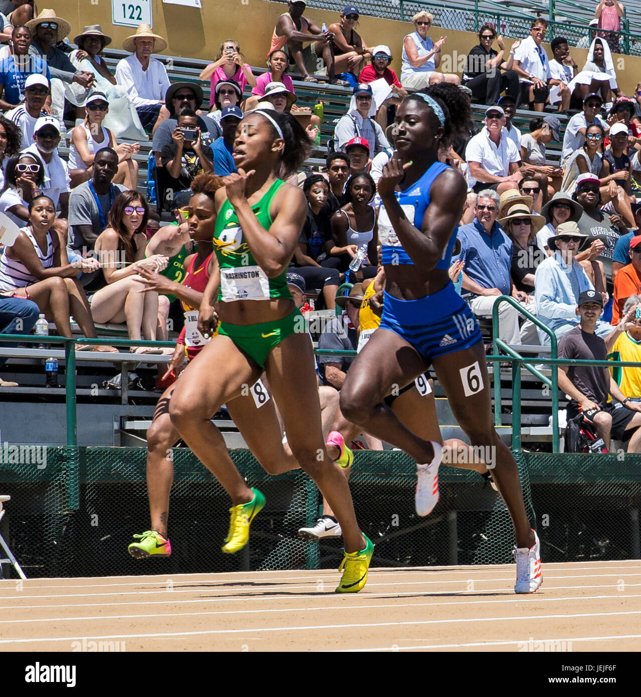 Sacramento, CA. 25th June, 2017. Women's 200m heat 1 top 3 first place Kimberly Duncan 22.59, 2nd place Allyson - Stock Image