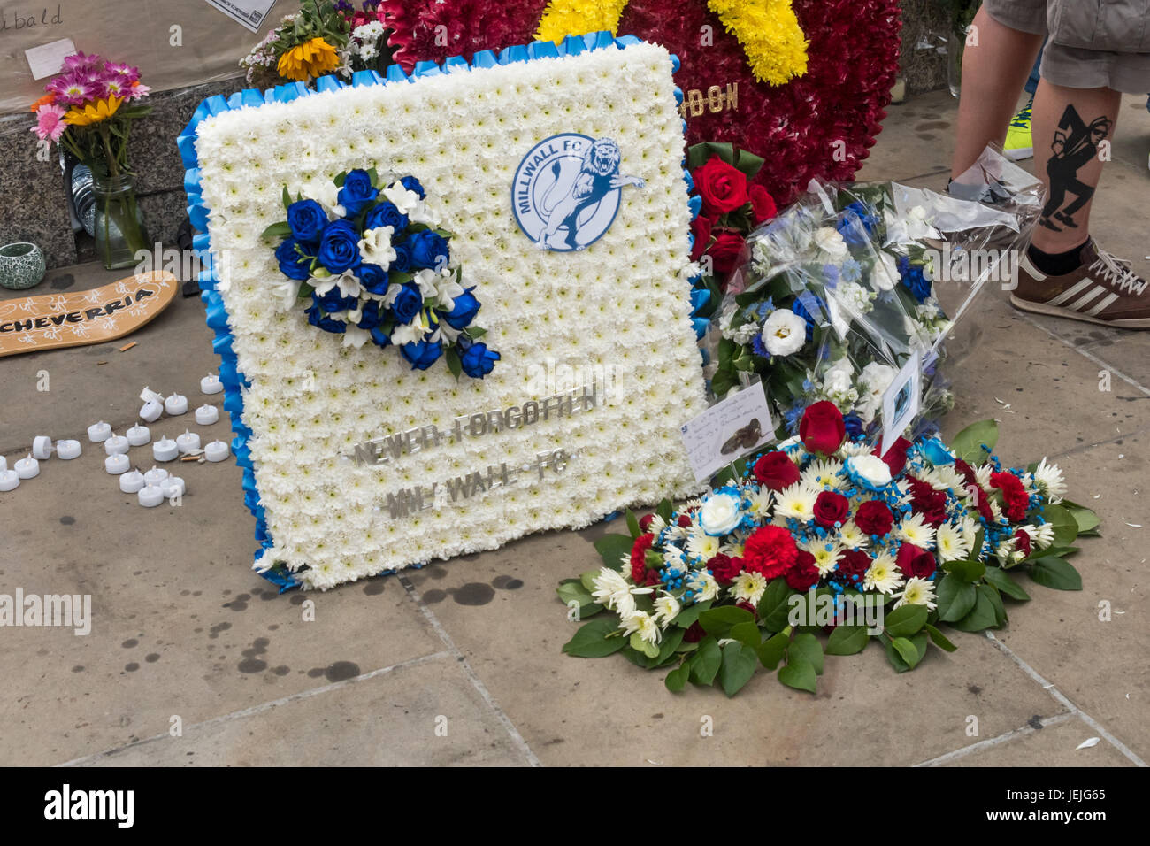 June 24 2017 london uk london uk 24th september 2017 wreaths and flowers from fans of millwall west ham and portsmouth on london bridge after the march by well over izmirmasajfo Images