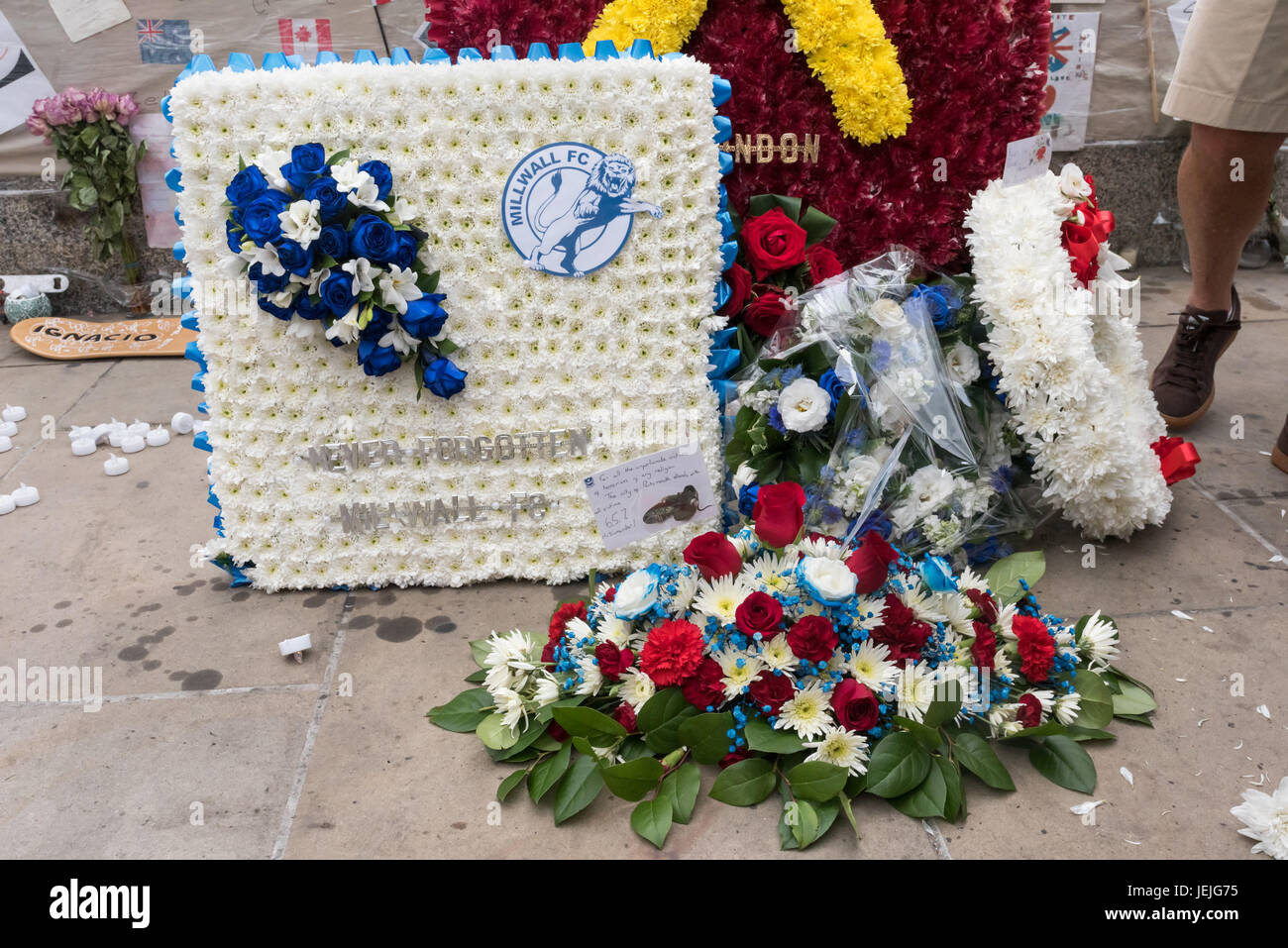 June 24 2017 london uk london uk 24th september 2017 wreaths and flowers from fans of millwall west ham portsmouth and arsenal on london bridge after the march by izmirmasajfo Images