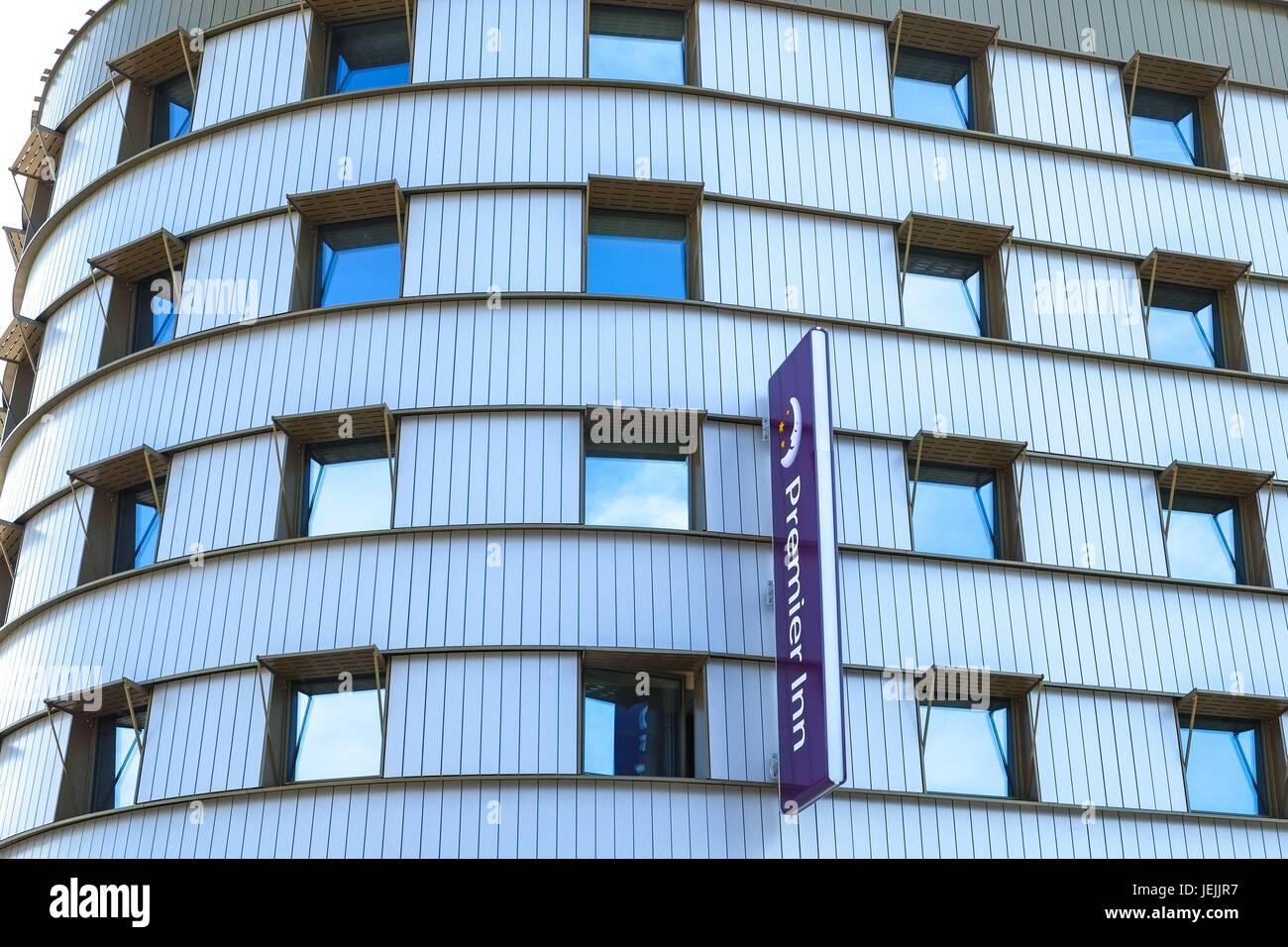 London, UK. 26th June 2017. Hotel chain Premier Inn admits concern over cladding used on it's buildings and is reviewing Stock Photo