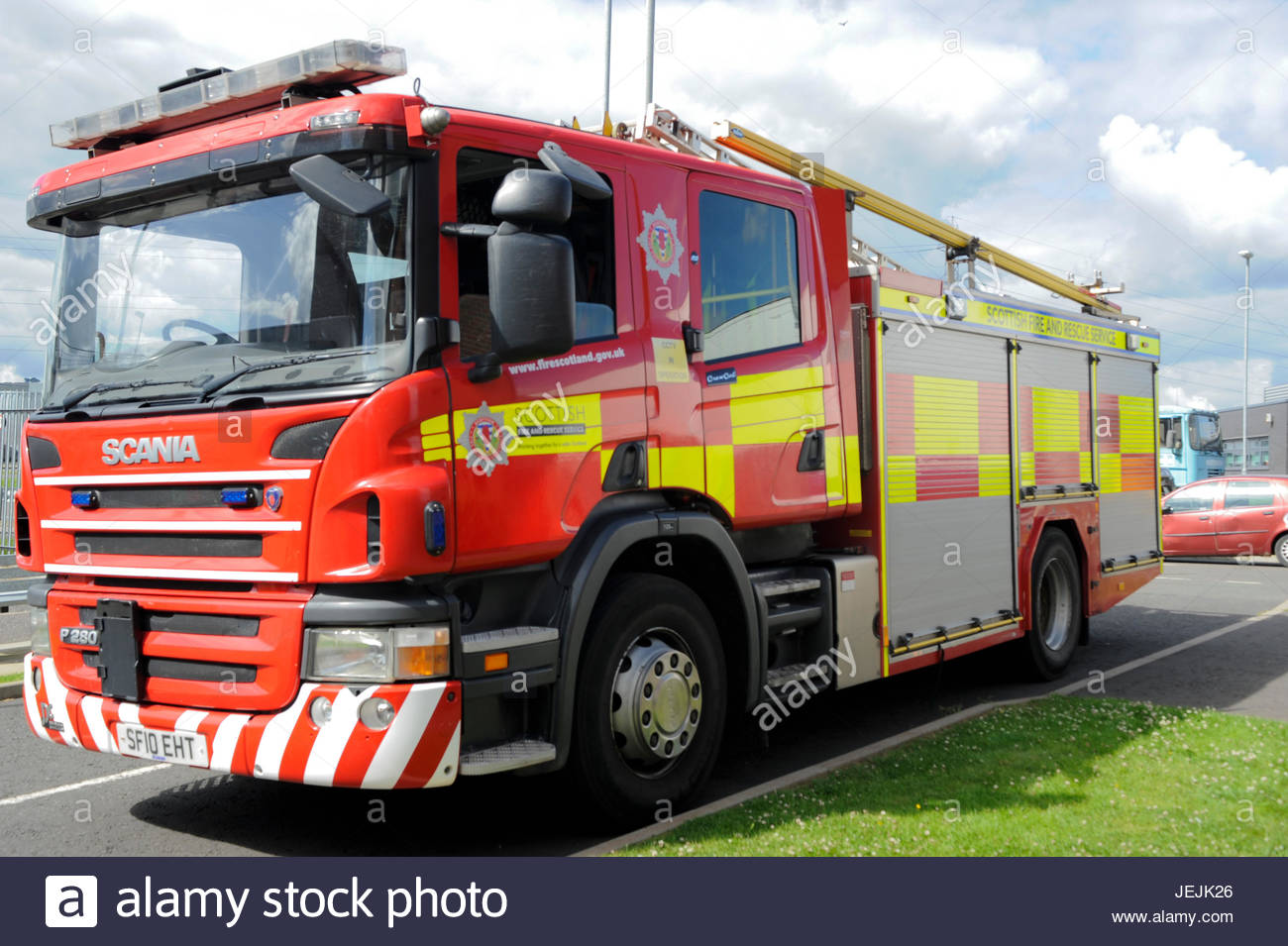 Cambuslang, UK. 26th June, 2017.  Fire appliance at the media launch of The Scottish Parliament's Economy, Jobs - Stock Image