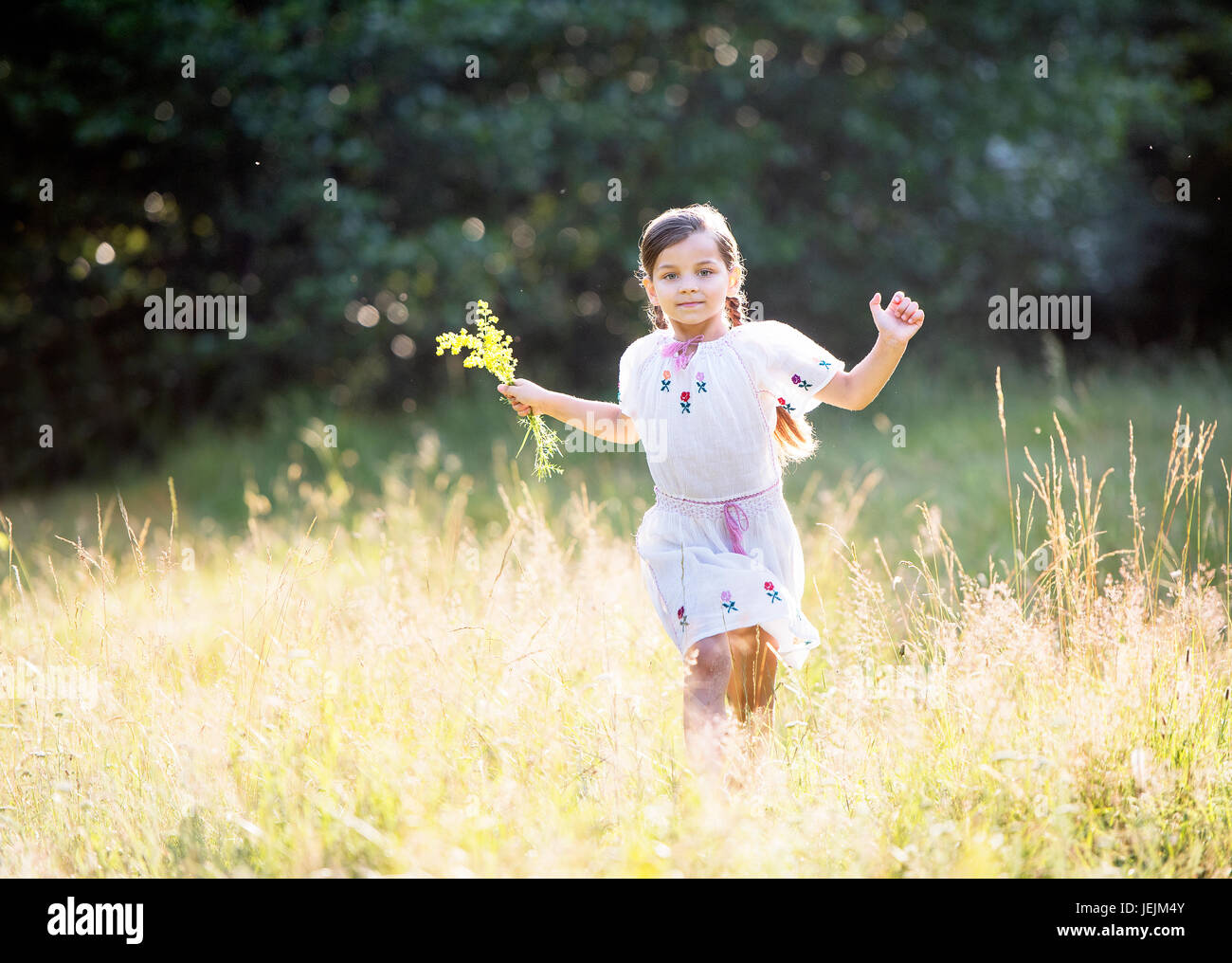 bd43abaf4d6f9 little happy girl with tight braids wearing traditional romanian blouse  running outside - Stock Image