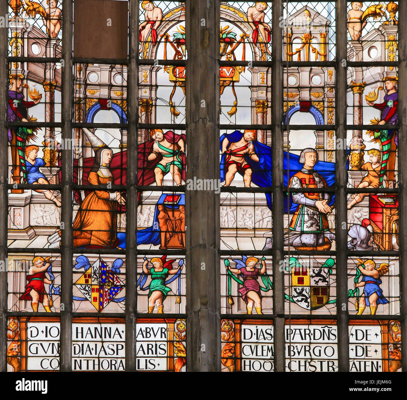 Stained Glass window in St Gummarus Church in Lier, Belgium, depicting Philip I the Fair and Joanna of Castile Stock Photo