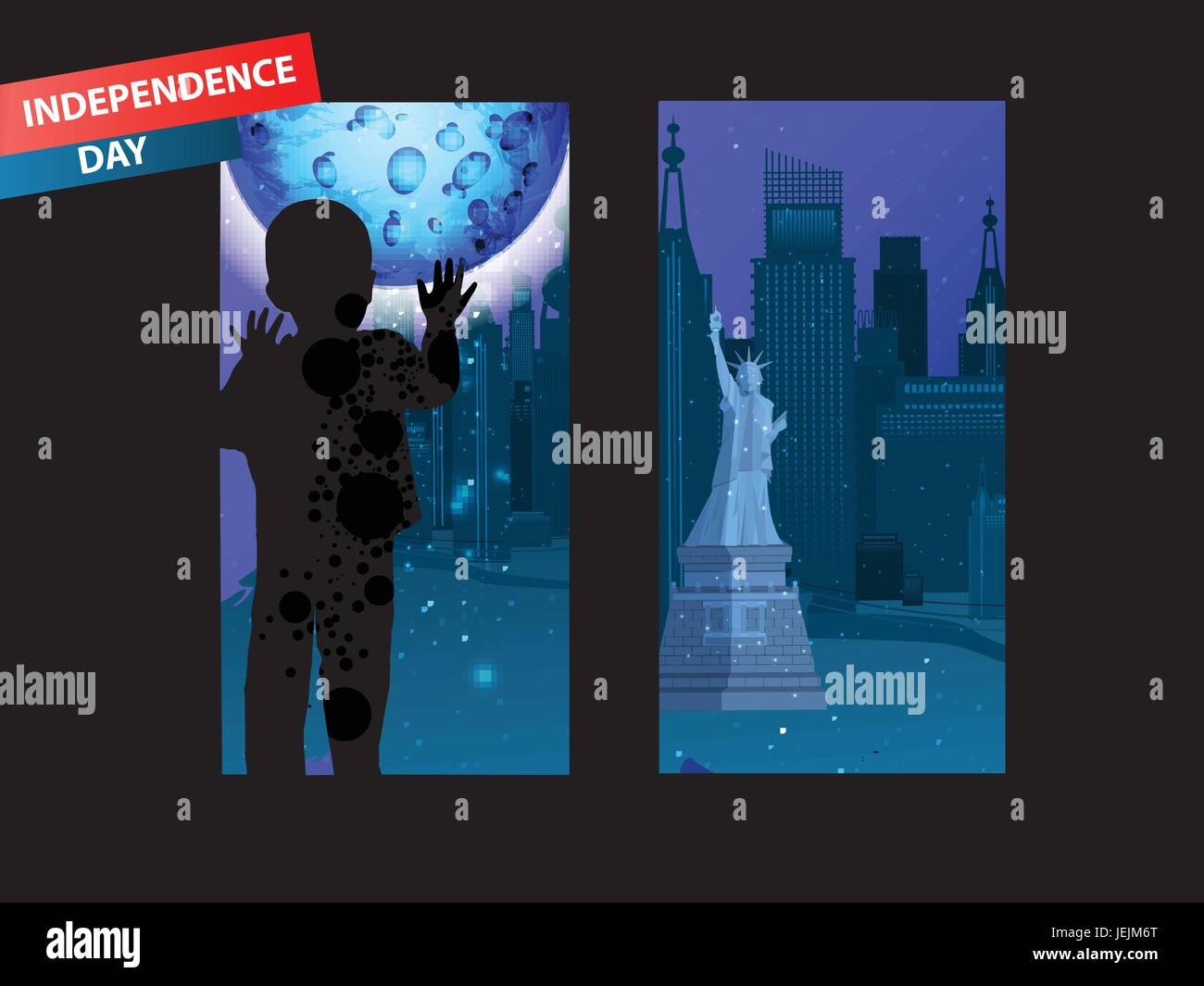 Independence Day United States. Concept of acceptability. The boy is looking out the window, the black glass on - Stock Vector
