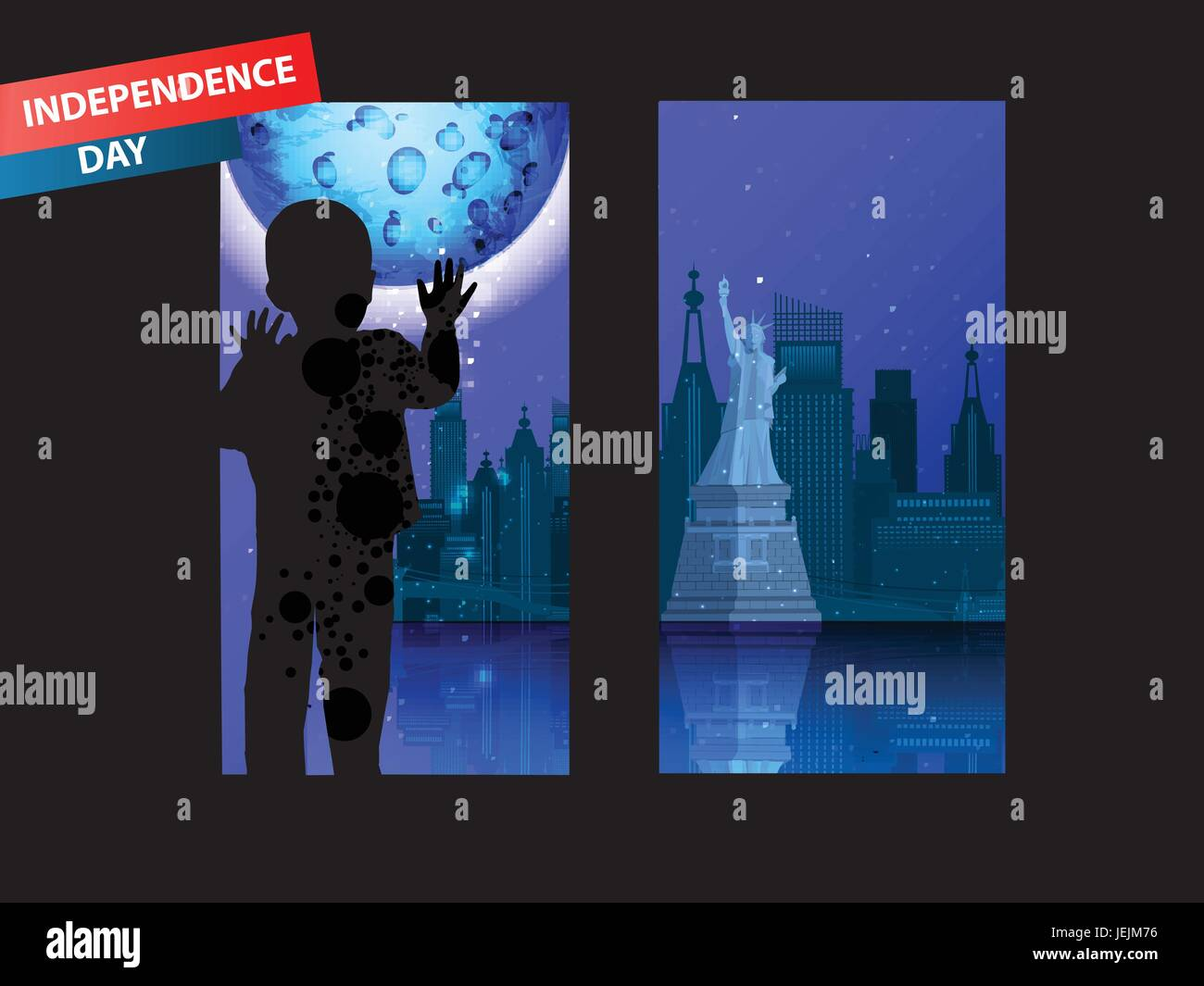Independence Day United States. Concept of acceptability. The boy is looking out the window at the city of New York. - Stock Vector