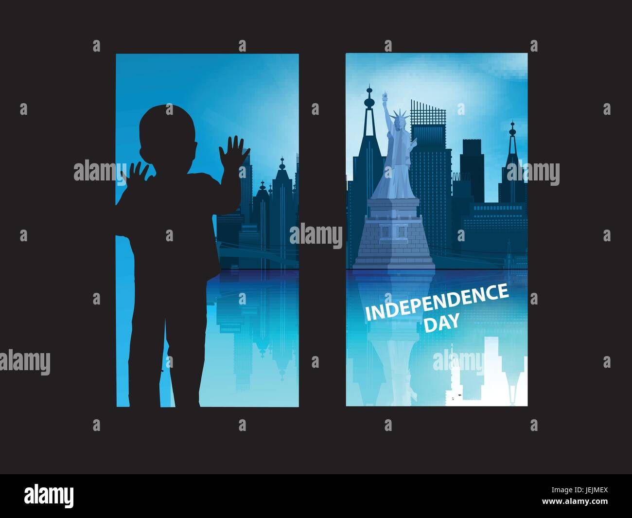 Independence Day United States. The fourth of July. The concept of patriotism. The boy is looking out the window - Stock Vector