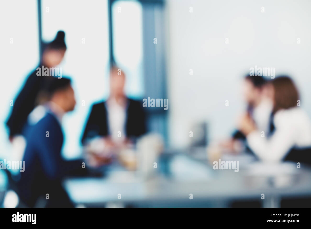 Blurred background with business people - Stock Image