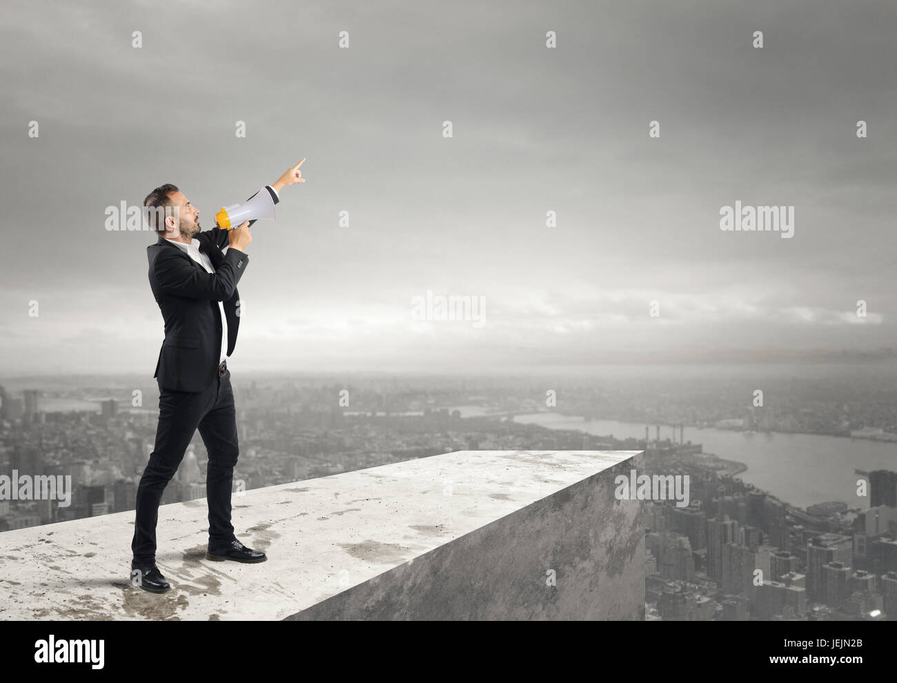 Authoritarian announcement to the megaphone - Stock Image