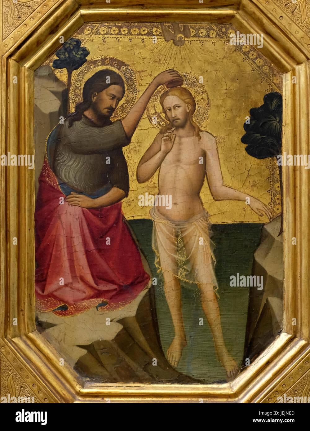 The Baptism of Christ, probably by Lorenzo Monaco, circa 1387 Stock Photo