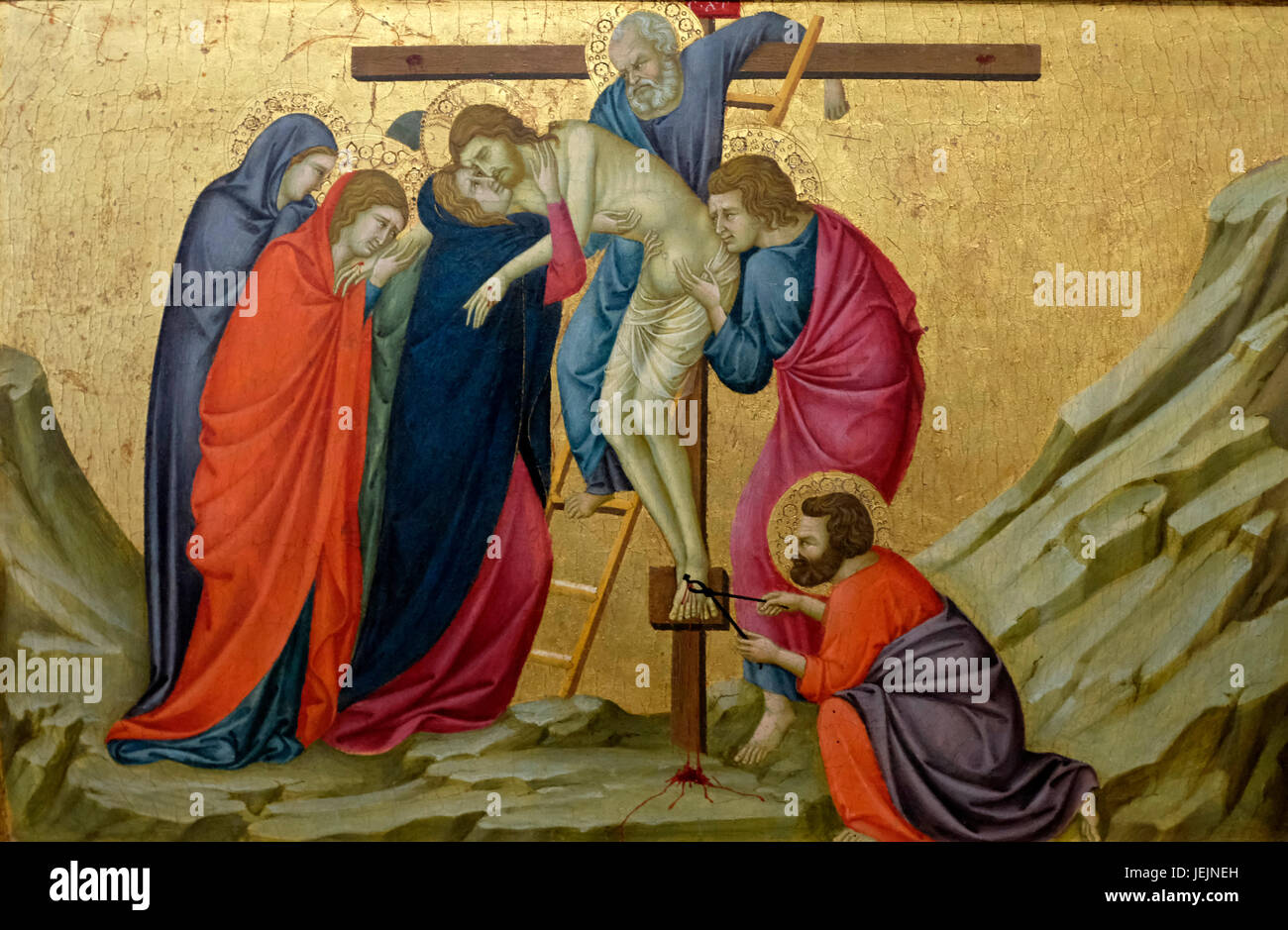 Jesus Being removed from the Cross - Ugolino, circa 1325 - Stock Image