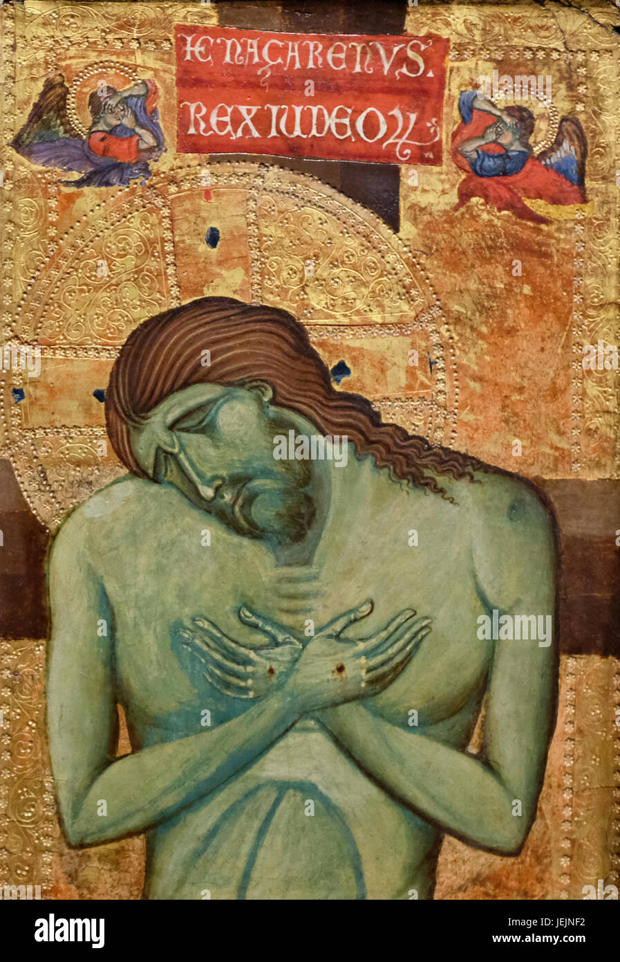 The Man of Sorrows - Jesus Christ Crucified - Unknown Artist - 13th century Stock Photo