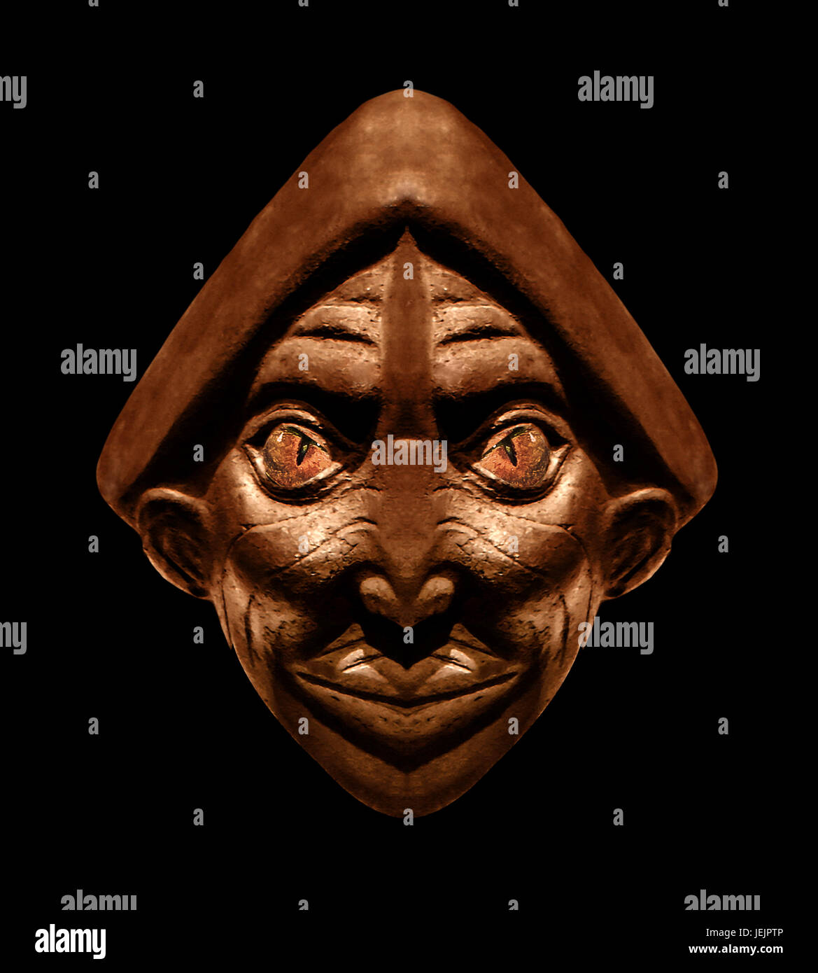Wood Scuplture Mask in Black Background Stock Photo