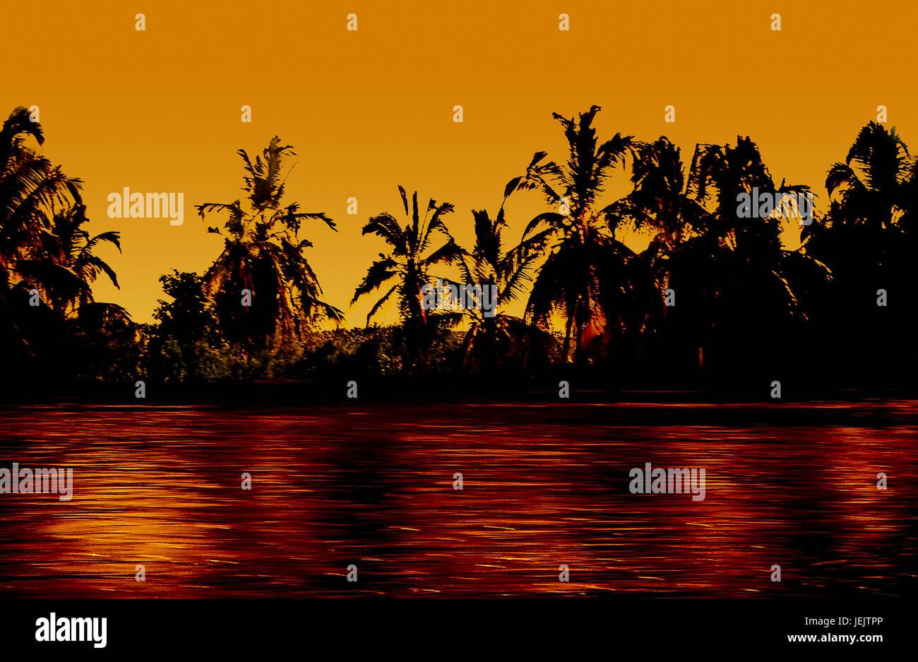 Tropical Sunset Paradise Edited Photo - Stock Image
