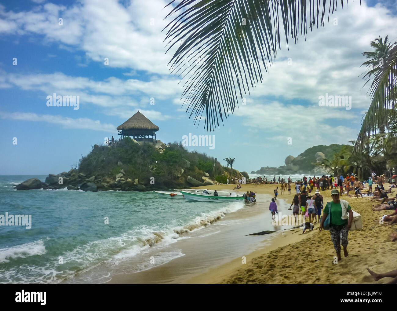 People at Cabo San Juan Beach in Colombia - Stock Image