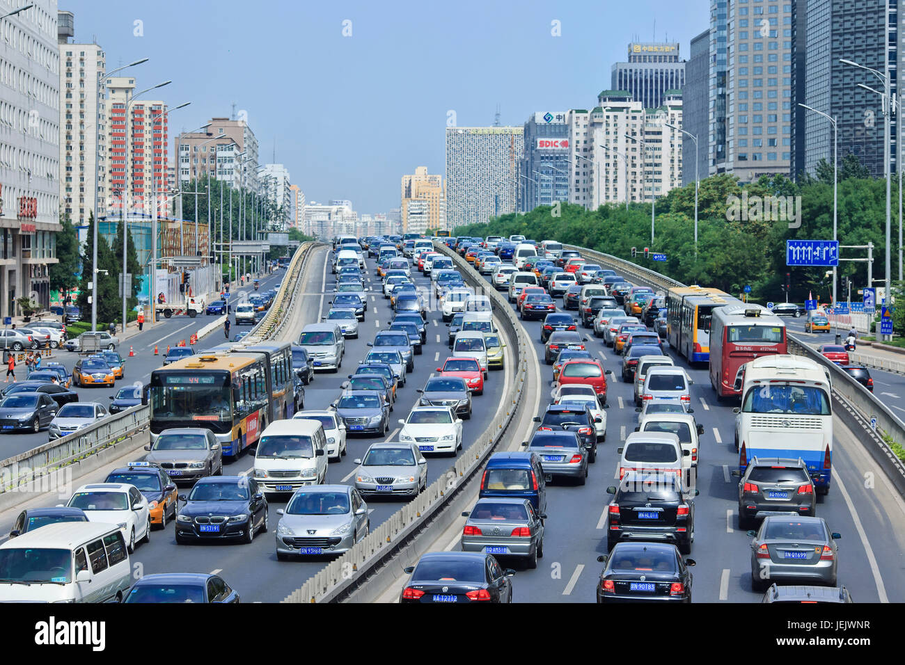 BEIJING-AUG. 24. Traffic jam at 2th ring road. Beijing has been notorious for serious traffic congestion for so Stock Photo