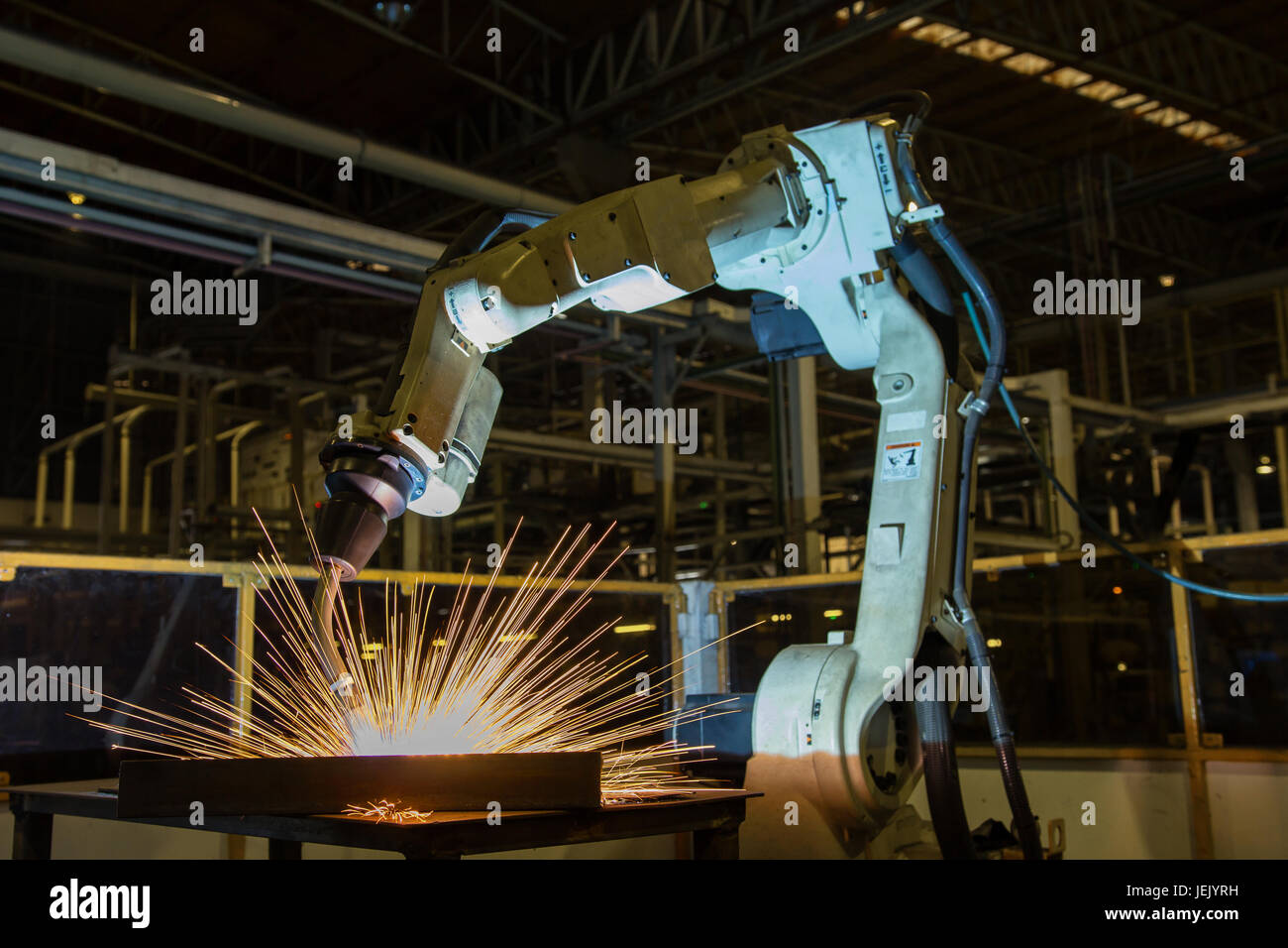 robot is welding in car factory Stock Photo