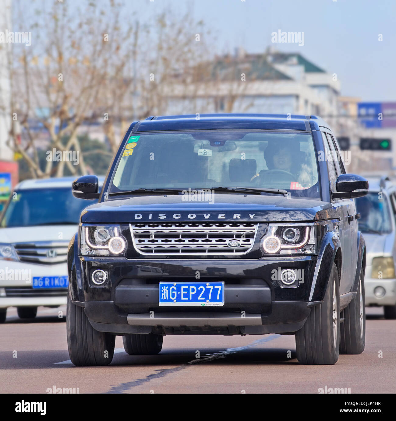 Range Rover Discovery. Jaguar Land Rover's sales have soared 23% in  UK, 35% in Europe and 28% in North America. - Stock Image